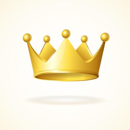 koninklijke kroon: Gouden koninklijke kroon geïsoleerd op een witte achtergrond Stock Illustratie