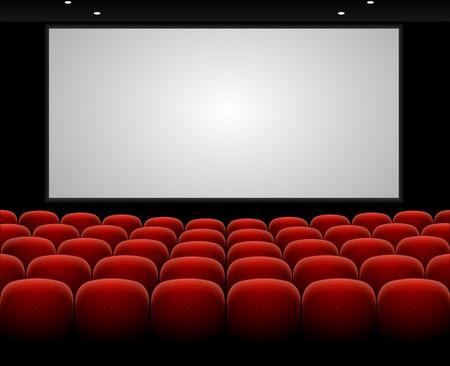 Cinema auditorium met rode zitplaatsen en leeg scherm vector