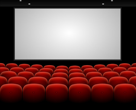 visual screen: Cinema auditorium with red seats and blank screen vector