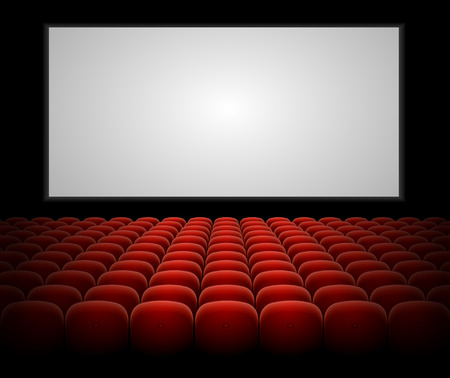 concert audience: Cinema auditorium with red seats and blank screen vector