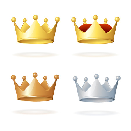 Set of royal crowns isolated on white background