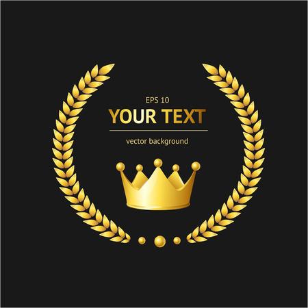 Vector golden crown concept for text .
