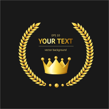 Vector golden crown concept for text .