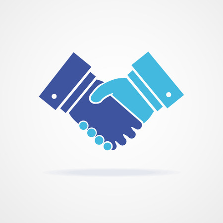 agreement shaking hands: Handshake icon for business and finance on white background