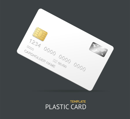 debit: Template white plastic credit card with chip