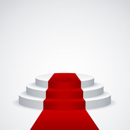 Bühne Podium mit rotem Teppich auf weißem Hintergrund