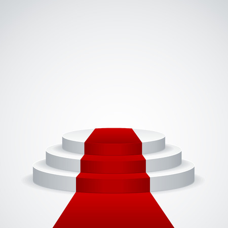 Stage podium with red carpet on white background