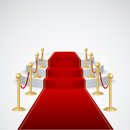 award ceremony: Stage podium with red carpet for award ceremony