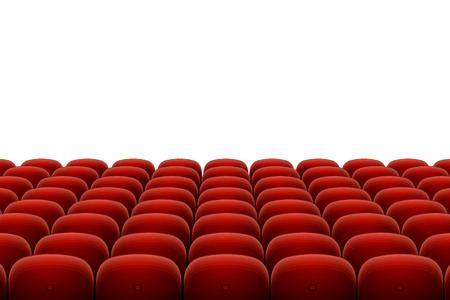 cinema seats: Vector red cinema, theatre seats isolated on white background
