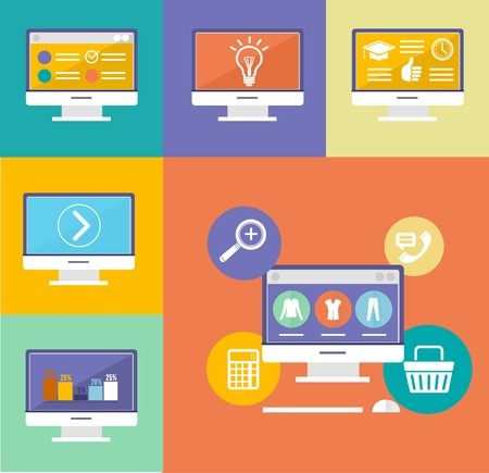 electronic device: Vector Electronic Device Flat Icons set background Illustration