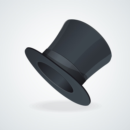 top black hat: Vector Black top hat on white background.