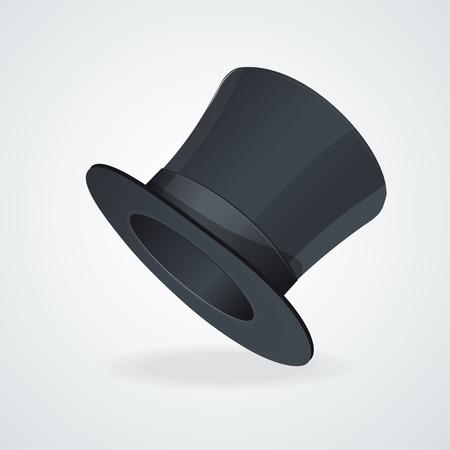 silk hat: Vector Black top hat on white background.