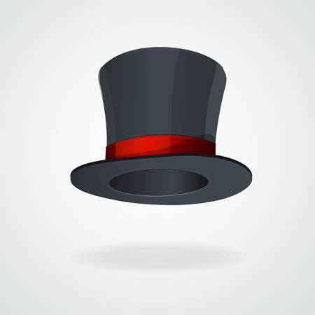 silk hat: Vector Black top hat and red ribbon isolated .