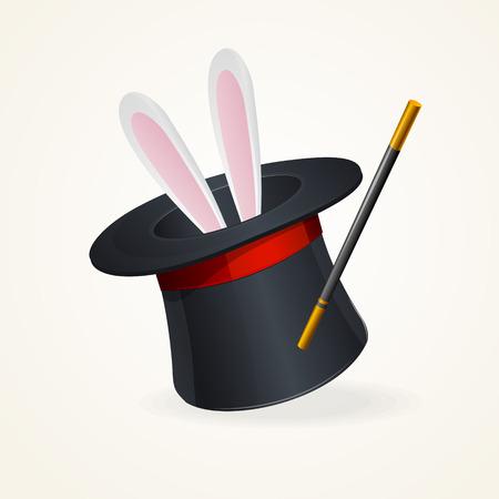 Magic hat and rabbit. Vector surprize concept .