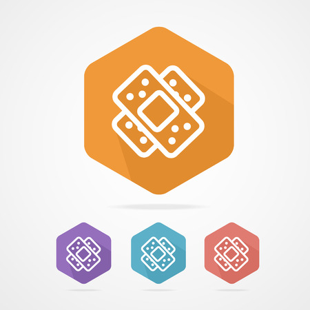 enhanced health: Two plaster vector icon. Patch flat icons on white Illustration
