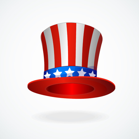 red hat: Uncle Sams hat vector. 4 of July celebration icon . Illustration