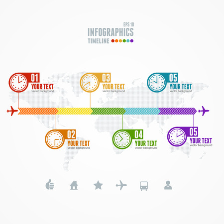 Vector Timeline Infographic. Map and clock. Business concept Illustration