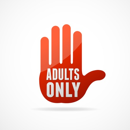 adult only: Vector Round Icon of Adults only sign on white