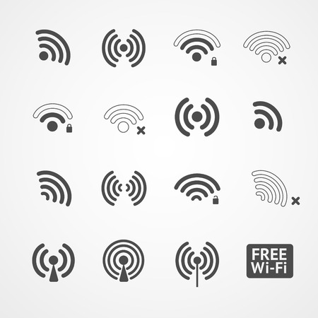 wireless hot spot: Vector black wireless icons set on white background