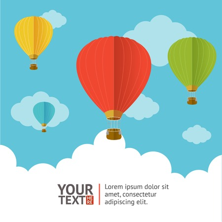 Hot air ballons in the sky option banners Illustration