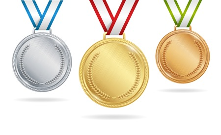Set of gold, silver and bronze medals on white background