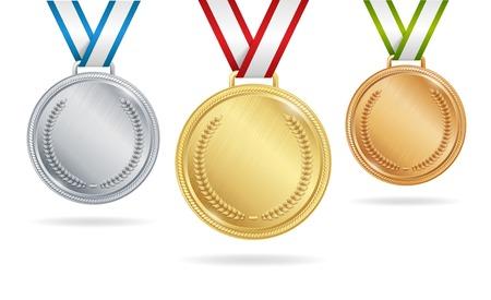 Set van gouden, zilveren en bronzen medailles op witte achtergrond Stock Illustratie