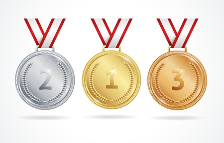 Set of gold, silver and bronze medals for winners Çizim