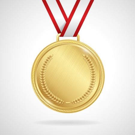 Champion gold medal with ribbon on white background