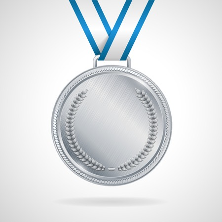 silver ribbon: Champion silver medal with ribbon  on white background