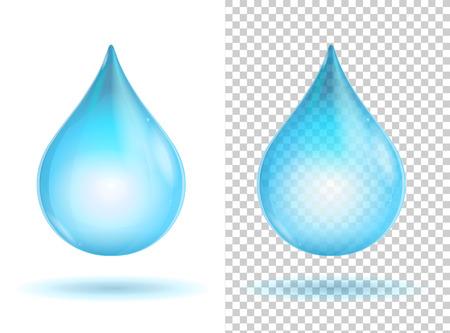 lagrimas: Agua transparente brillante azul cae. Ilustraci�n vectorial