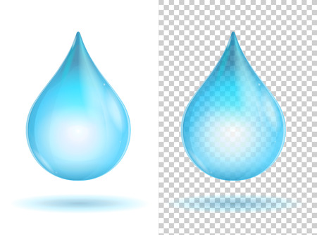 Blue shiny transparent water drops. Vector illustration