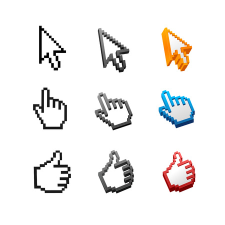 computer mouse icon: Vector cursors set isolated on white background. Arrow, hand. Illustration