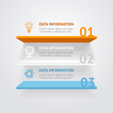 Vector illustration. Infografic color shelves options banner.
