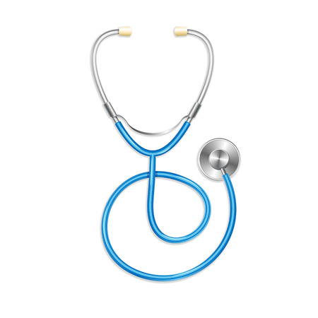 Vector. Blue stethoscope isolated on white background. Medical symbol