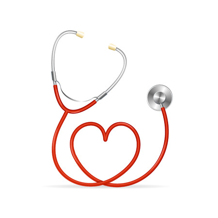 heart medical: Vector Red Stethoscope in Shape of Heart