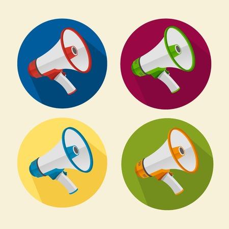 Platte megafoon pictogrammen instellen geïsoleerd. Cirkelknoppen Stock Illustratie