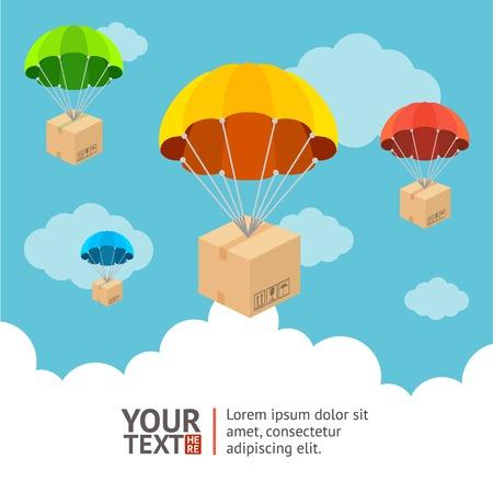 Vector illustratie. Parachute met het verzenden van kaart optie banners Stock Illustratie