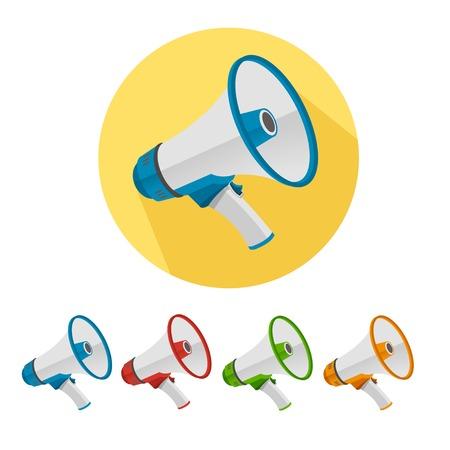 Flat megafoon pictogrammen set geïsoleerd op een witte achtergrond