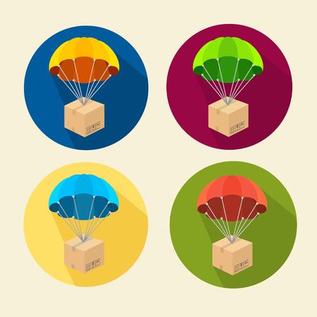 fallschirm: Vector illustration Fallschirme Symbole gesetzt. Kreis-Tasten- Illustration