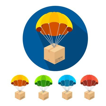 Flat parachutes icons set isolated on white background Çizim