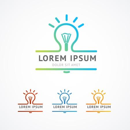 Vector illustration. Abstract business logo concept. Light bulb shine Illustration