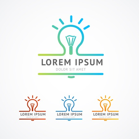 thinking icon: Vector illustration. Abstract business logo concept. Light bulb shine Illustration