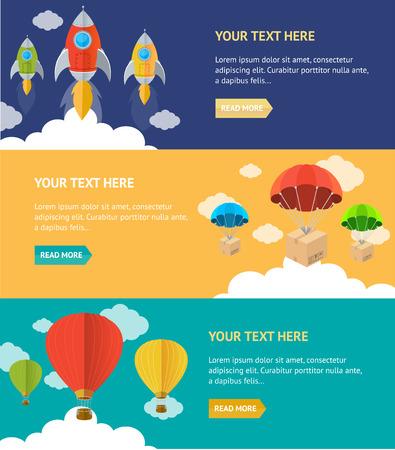 Vector illustration. Parachute, hotair and rocket option banner Vector