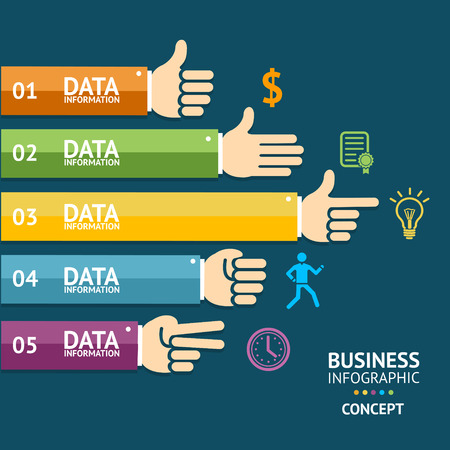 reaching: Vector illustration. Infographics with hands for business, finance. Flat Design