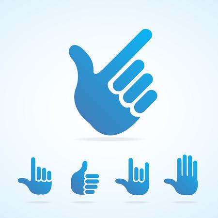 body language: Vector illustration. Flat Design hand icon set different gesture, signals
