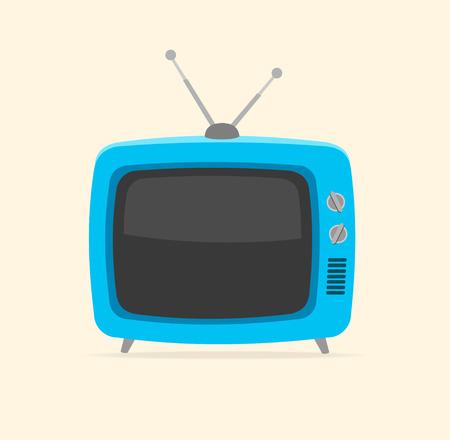 old television: Vector illustration blue retro tv and tiny antenna isolated on white background. Flat Design Illustration