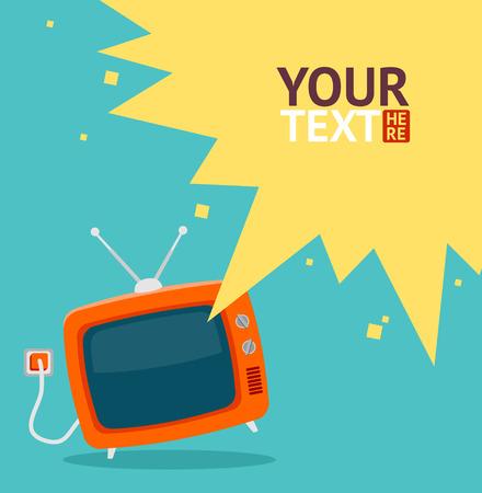 television antigua: Colorida ilustración vectorial en estilo diseño plano. Tv retro rojo con la tarjeta de cable, lugar para el texto