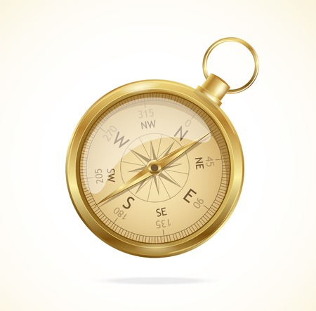 windrose: Vector illustration old-style  glossy metal compass with windrose. Illustration