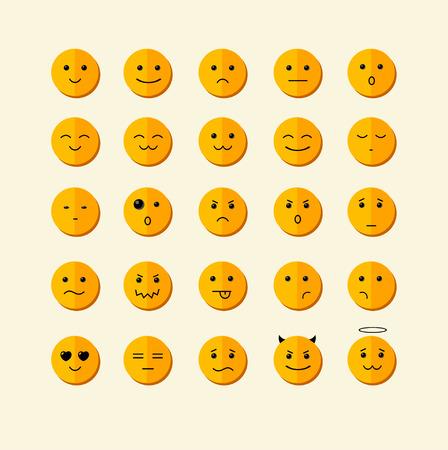 caras emociones: Ilustración vectorial icono de la sonrisa fija con diferente cara. Diseño Flat Vectores