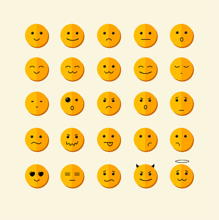 smiley face cartoon: Vector illustration smile icon set  with different face. Flat Design